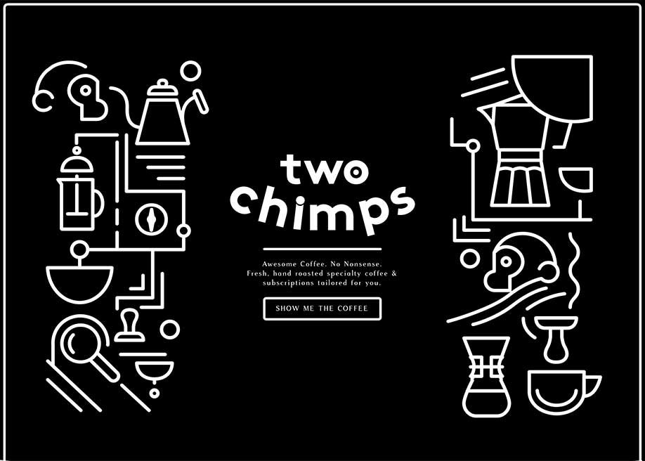 A San Serif font used in a dark background website. Image: Two Chimps Coffee.
